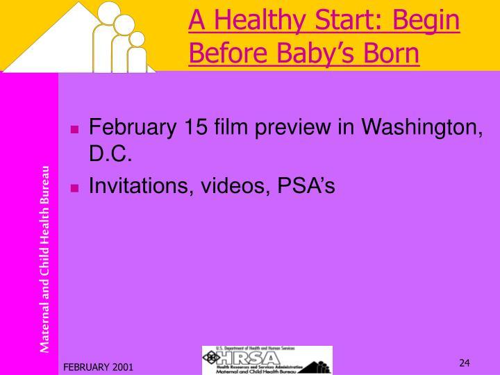 A Healthy Start: Begin