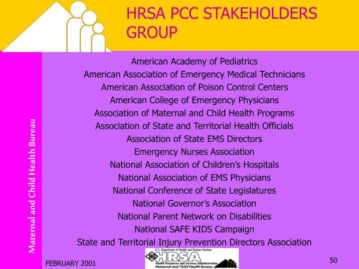 HRSA PCC STAKEHOLDERS GROUP