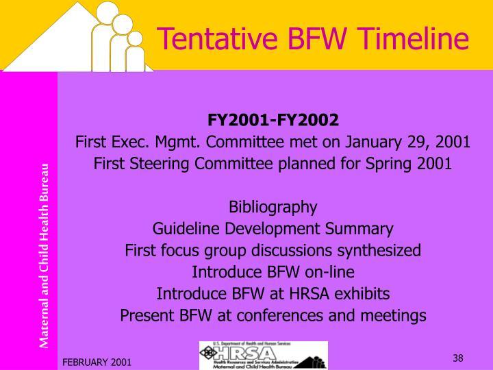 Tentative BFW Timeline