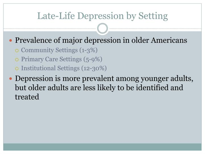 Late-Life Depression by Setting
