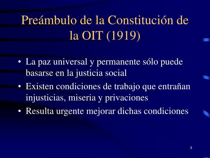 Preámbulo de la Constitución de la OIT (1919)