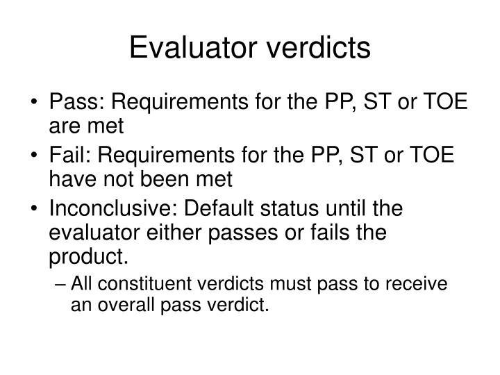 Evaluator verdicts