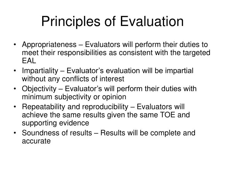 Principles of evaluation