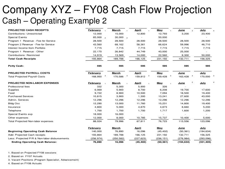 Company XYZ – FY08 Cash Flow Projection