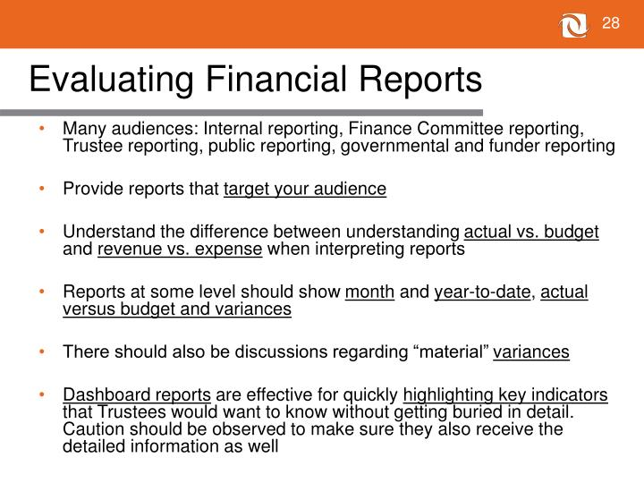 Evaluating Financial Reports