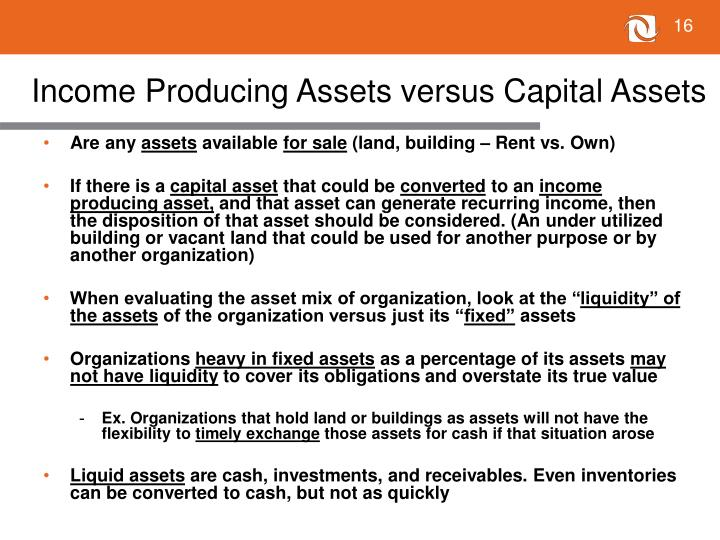 Income Producing Assets versus Capital Assets