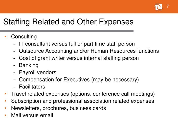 Staffing Related and Other Expenses