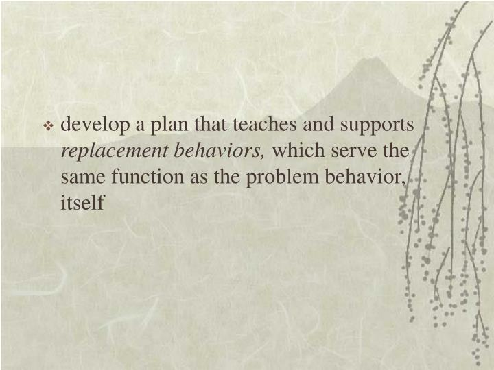 develop a plan that teaches and supports