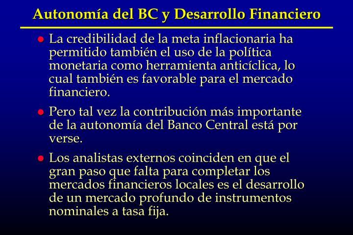 Autonomía del BC y Desarrollo Financiero