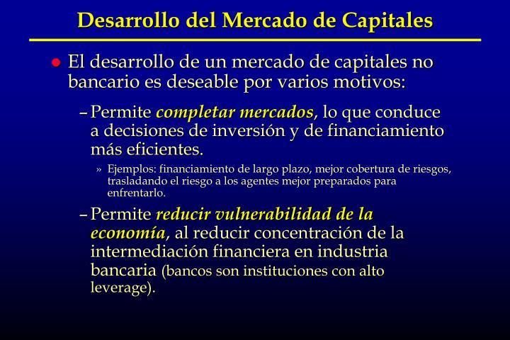 Desarrollo del Mercado de Capitales