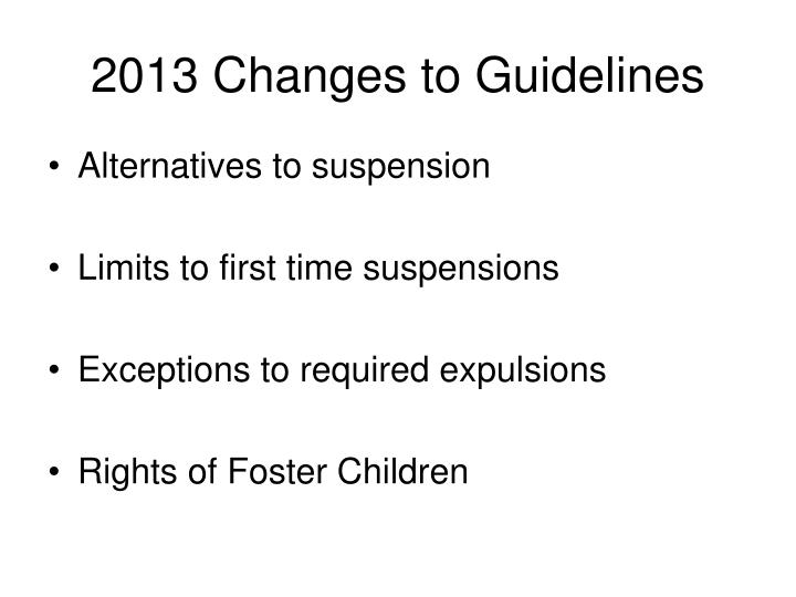 2013 changes to guidelines