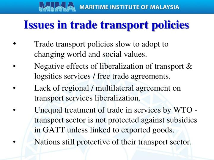 Issues in trade transport policies