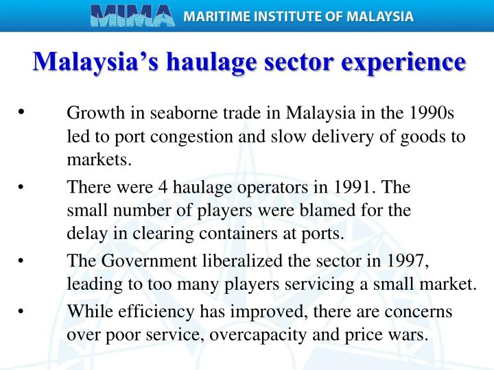 Malaysia's haulage sector experience