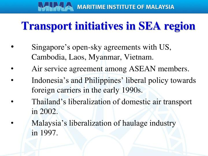 Transport initiatives in SEA region