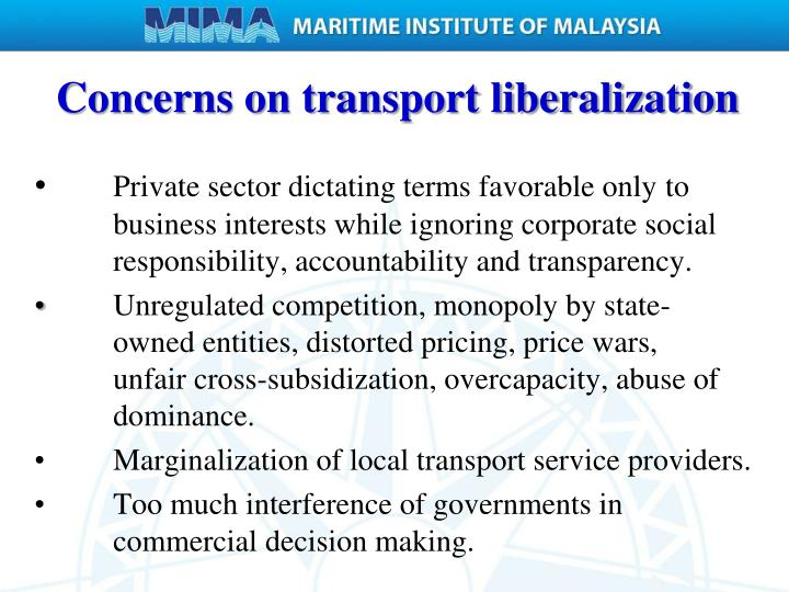 Concerns on transport liberalization