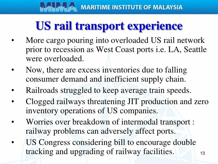US rail transport experience
