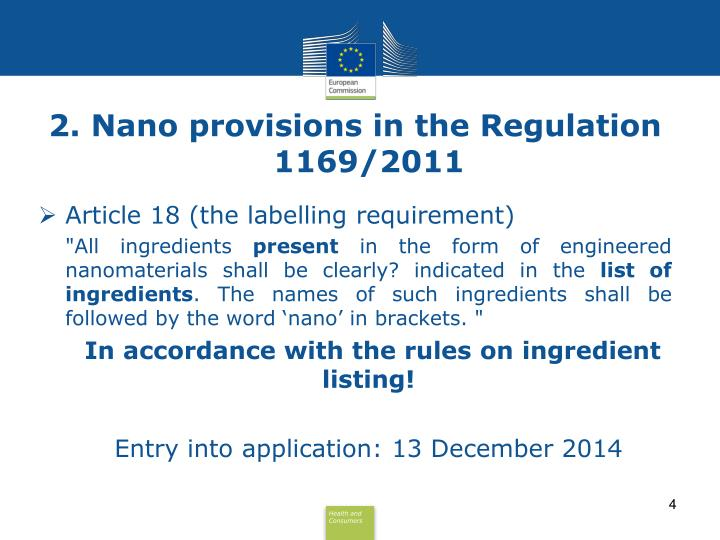 2. Nano provisions in the Regulation 1169/2011