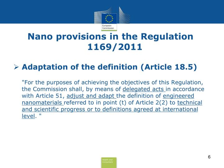 Nano provisions in the Regulation 1169/2011