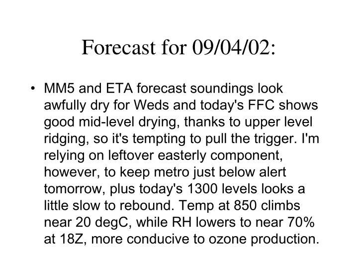 Forecast for 09/04/02: