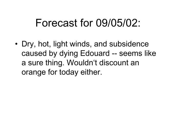 Forecast for 09/05/02:
