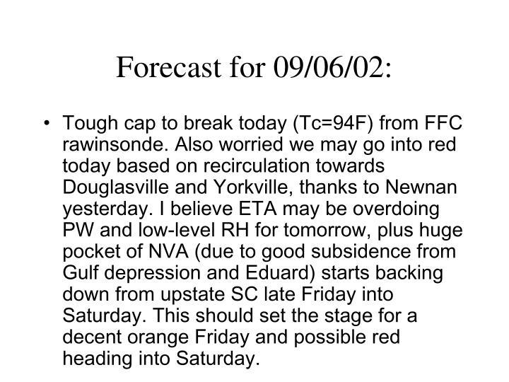 Forecast for 09/06/02: