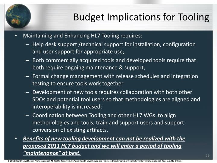 Budget Implications for Tooling