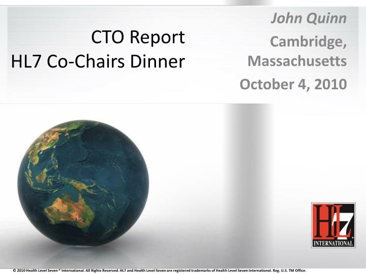 cto report hl7 co chairs dinner
