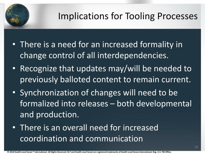 Implications for Tooling Processes
