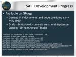 saif development progress