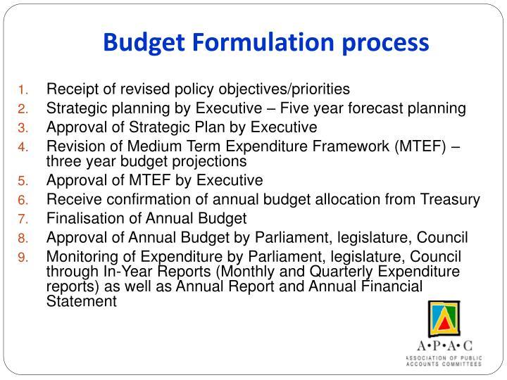 Budget Formulation process