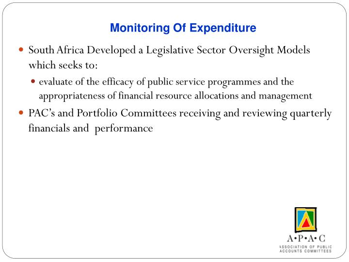 Monitoring Of Expenditure