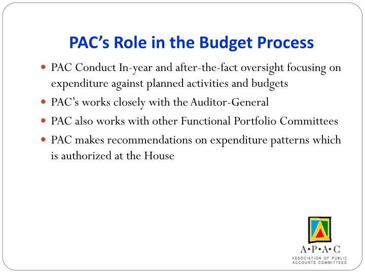 PAC's Role in the Budget Process
