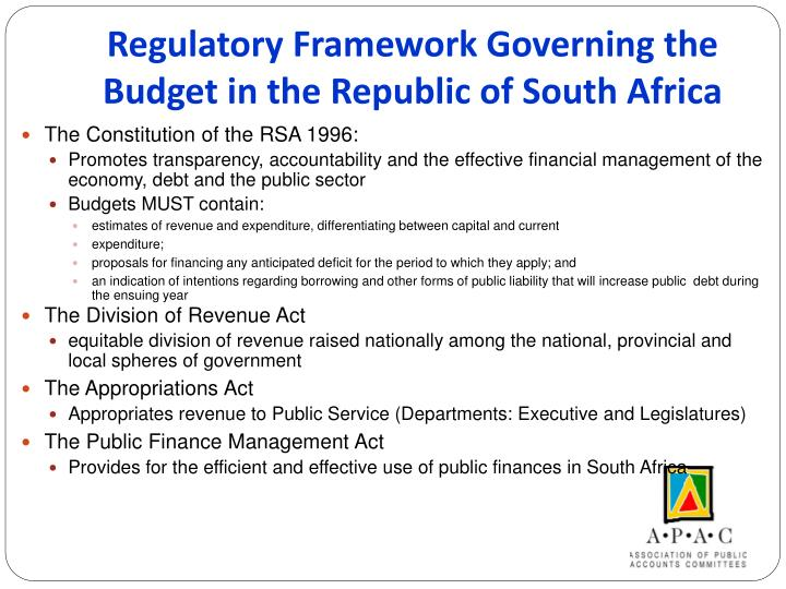 Regulatory Framework Governing the Budget in the Republic of South Africa