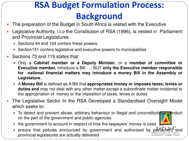 Rsa budget formulation process background