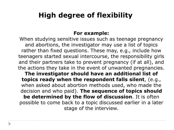 High degree of flexibility