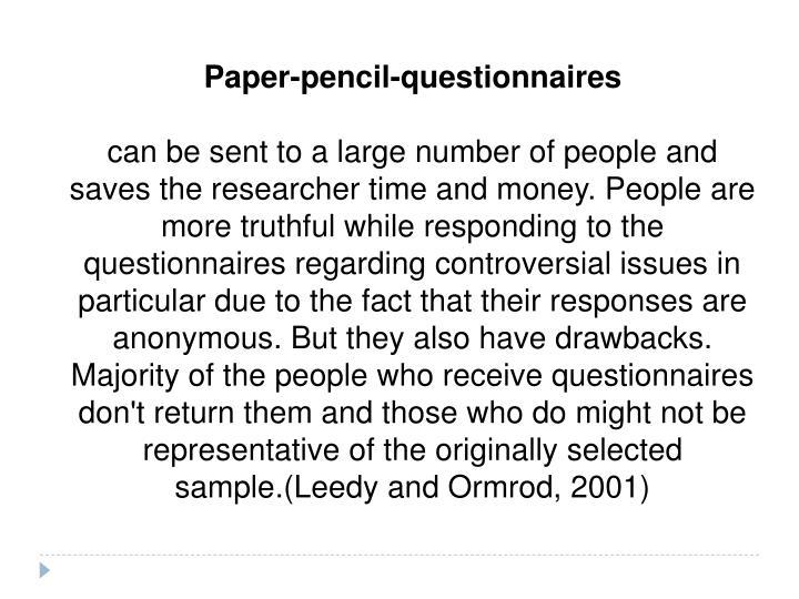 Paper-pencil-questionnaires
