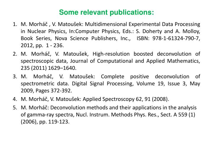 Some relevant publications: