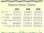 balance sheet claims