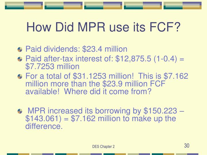How Did MPR use its FCF?