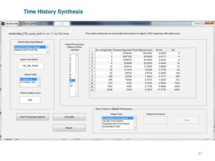 Time History Synthesis