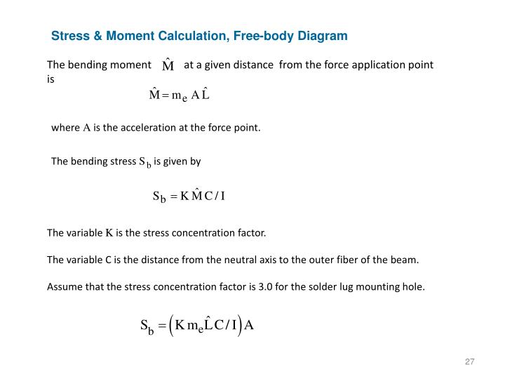 Stress & Moment Calculation, Free-body Diagram
