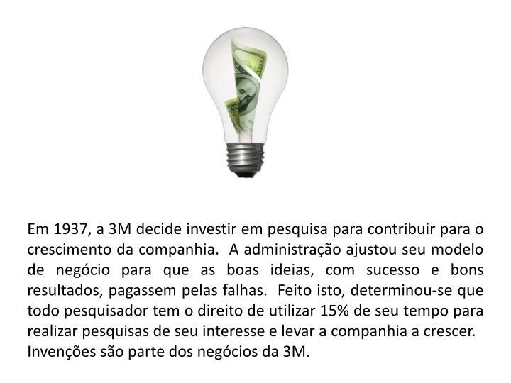 Em 1937, a 3M decide investir em pesquisa para contribuir para o crescimento da companhia.  A administração ajustou seu modelo de negócio para que as boas ideias, com sucesso e bons resultados, pagassem pelas falhas.  Feito isto, determinou-se que todo pesquisador tem o direito de utilizar 15% de seu tempo para realizar pesquisas de seu interesse e levar a companhia a crescer.