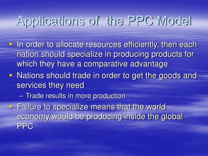 Applications of  the PPC Model