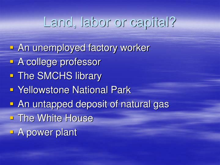 Land, labor or capital?