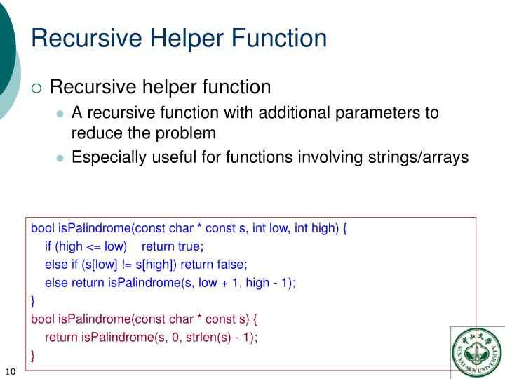Recursive Helper Function