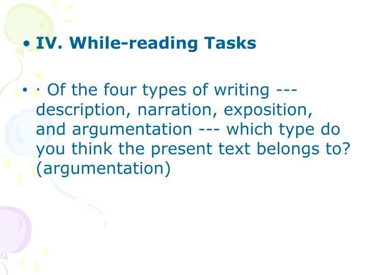 IV. While-reading Tasks
