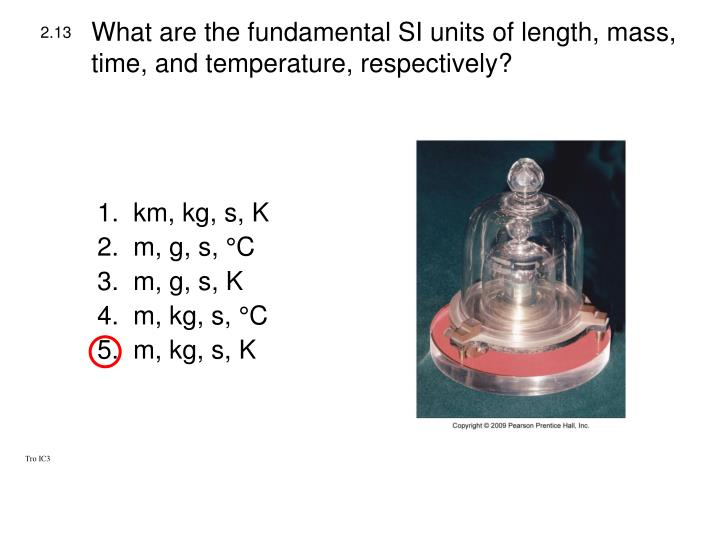 What are the fundamental SI units of length, mass, time, and temperature, respectively?