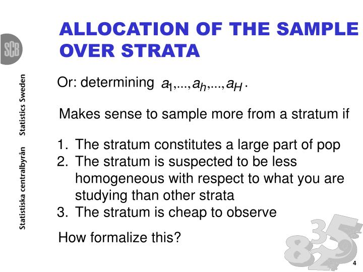 ALLOCATION OF THE SAMPLE OVER STRATA