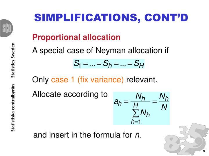 SIMPLIFICATIONS, CONT'D