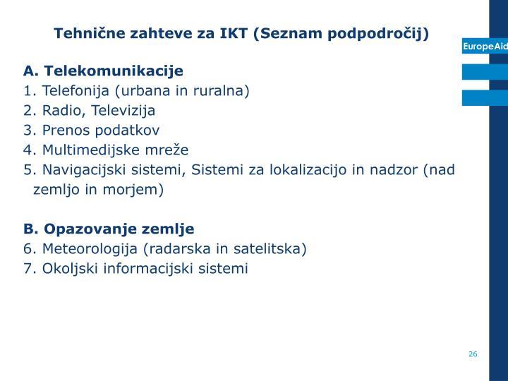 Tehnične zahteve za IKT (Seznam podpodročij)